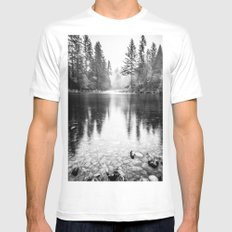 Forest Reflection Lake - Black and White Nature Water Reflection MEDIUM Mens Fitted Tee White