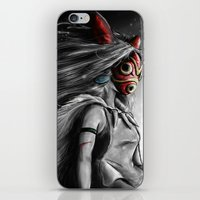 mononoke iPhone & iPod Skins featuring Miyazaki's Mononoke Hime Digital Painting the Wolf Princess Warrior Color Variation by Barrett Biggers