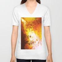 horses V-neck T-shirts featuring Horses by Vitta