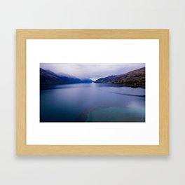Lake Hawea lake wakatipo blue crystal clear panorama blue Framed Art Print