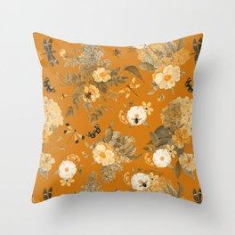 Vintage & Shabby Chic - Golden Summer Day Botanical Flower Roses Garden Throw Pillow