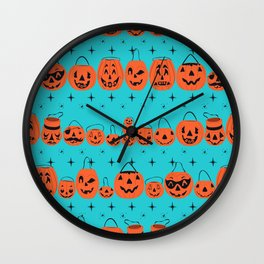 Trick or Treat Smell My Feet- Turquoise Wall Clock