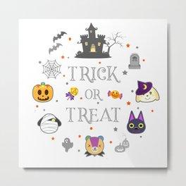 cute animal crossing halloween pattern Metal Print
