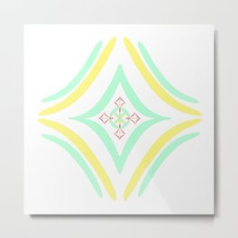 Four Square - Aqua, Yellow Metal Print