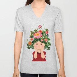 Spring Flower Girl Unisex V-Neck
