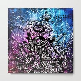 Henna Lotus Hand Metal Print