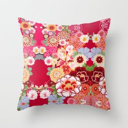 Red Floral Burst Throw Pillow