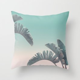 Tropical Palm Leaves In Pastel Light Throw Pillow