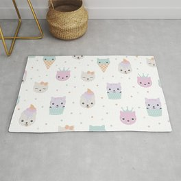 Kawaii breeze summer kitty cupcake cats and snow one ice cream kittens Rug