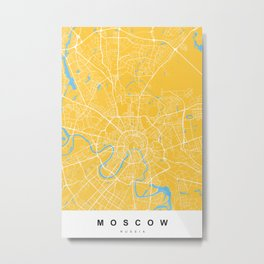 Moscow, Russia Map | Yellow & Blue | More Colors, Review My Collections Metal Print