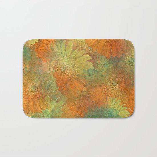 Floral Orange-Yellow-Green Bath Mat