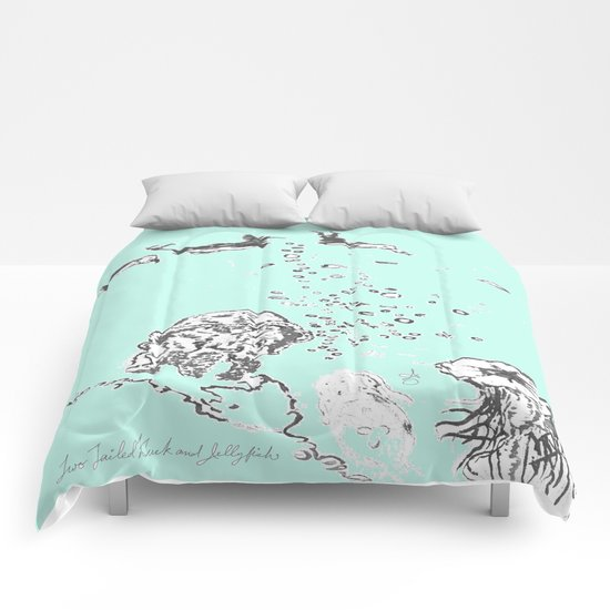 Two Tailed Duck and Jellyfish Mint Green Comforters