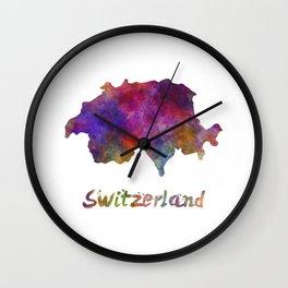 Switzerland in watercolor Wall Clock