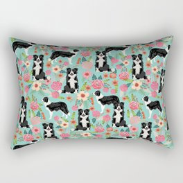 border collie cute florals mint pink black and white dog gifts for dog lover Rectangular Pillow