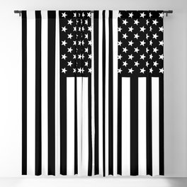 Black And White Stars And Stripes Blackout Curtain