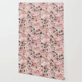 Vintage Floral Allover In Peach Pastels Wallpaper