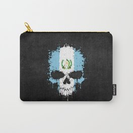 Flag of Guatemala on a Chaotic Splatter Skull Carry-All Pouch