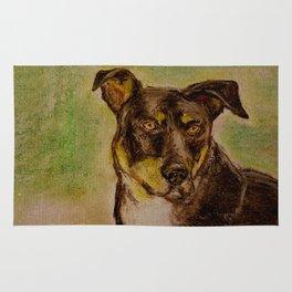 Pensive dog illustration Rug