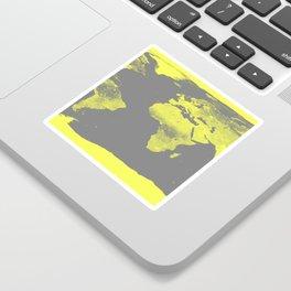 world maP Lemon Yellow & Gray Sticker