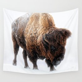 American Bison In Snow Wall Tapestry