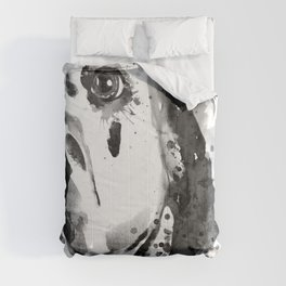 Black And White Half Faced Dalmatian Dog Comforters
