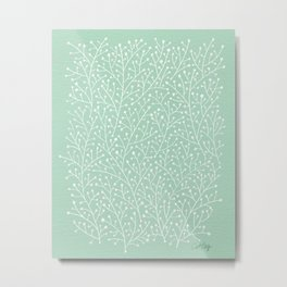 Mint Berry Branches Metal Print