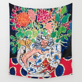 Lion, Cheetah and Tiger Still Life - Wildflowers in Wild Cat Vase After Matisse Wall Tapestry