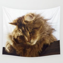 Curious Maine Coon Cat Wall Tapestry