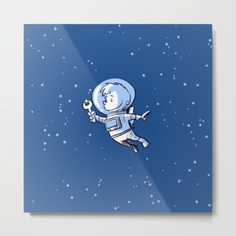 Little Astronaut - Star Repairs Metal Print