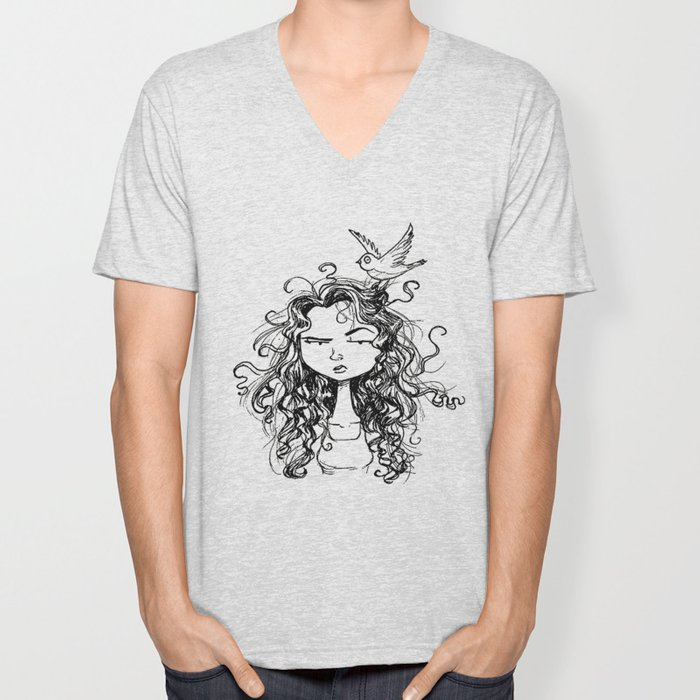 curly hair Unisex V-Neck
