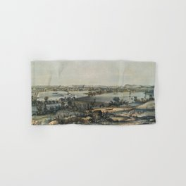 Vintage Pictorial Map of New Haven CT (1849) Hand & Bath Towel