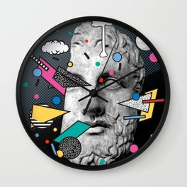 """Thoughtless"" Inner Thoughts Statue Memphis Collage 1 Wall Clock"