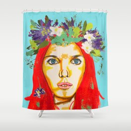 Red haired girl with flowers in her hair Shower Curtain