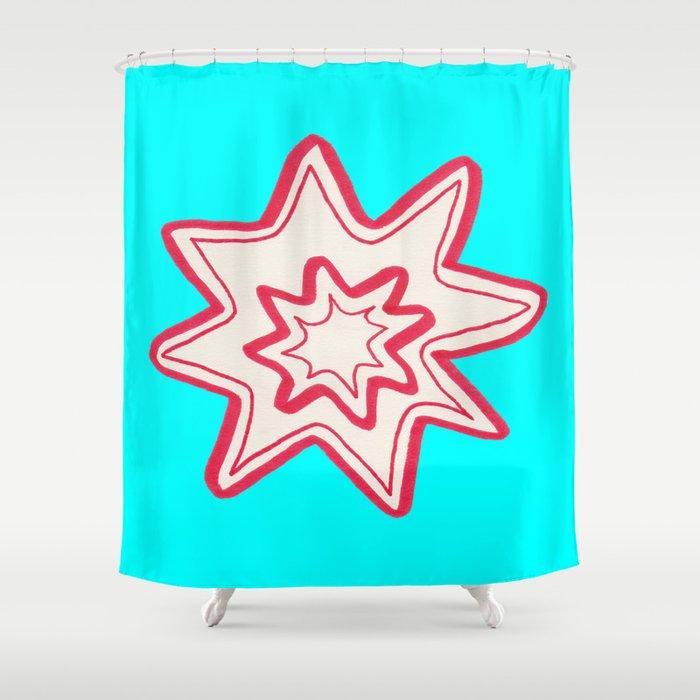 POW -  (Bright Blue) Shower Curtain