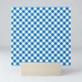 Vibrant Blue Gingham Plaid Pattern Mini Art Print