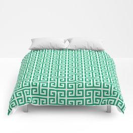 Jade and White Greek Key Pattern Comforters
