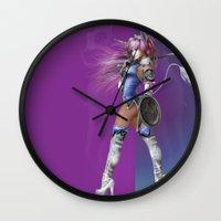 manga Wall Clocks featuring Manga Unicorn by Illu-Pic-A.T.Art