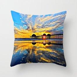 Sunset ~ Huntington Beach Pier CA  11/7/13 Throw Pillow