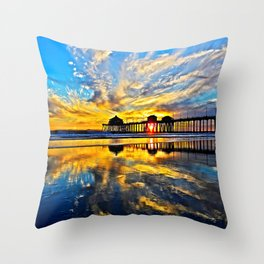 Sunset ~ Huntington Beach Pier CA  11/7/13 Throw Pillow