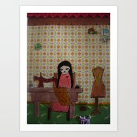 sewing Art Prints featuring sewing by a pink dreamer