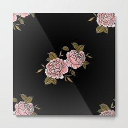 Pink Roses Watercolor Painting Pattern Metal Print