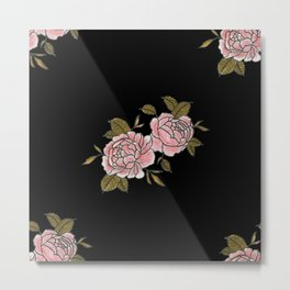 Pink Roses Watercolor Painting Pattern Metal Print