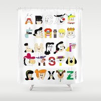 60s Shower Curtains featuring Child of the 60s Alphabet by Mike Boon
