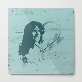 Silhouette Female Soprano Opera Singer, Handwritten Scales, Music, Hearts and Butterflies on Teal Metal Print