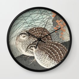 Two Quails in the field - Vintage Japanese woodblock print  Wall Clock