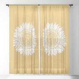 Yellow Sunflower Drawing Sheer Curtain