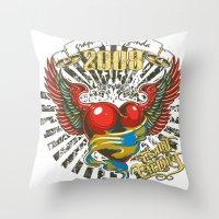 propaganda Throw Pillows featuring Graphic propaganda by Tshirt-Factory