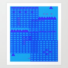 Flying Over the Blue City Art Print