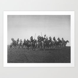 Brule War Party Native American Brule Tribe grand plains black and white photography Art Print
