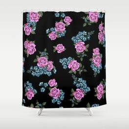 Purple flowers. Roses, peonies. Watercolor. Shower Curtain
